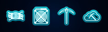 Set Line Cryptocurrency Bitcoin In Circuit, ASIC Miner, Pickaxe And Cloud Mining. Glowing Neon Icon. Vector.