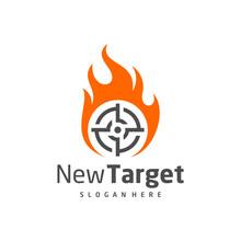Fire Target Logo Vector Template, Creative Target Logo Design Concepts, Icon Symbol, Illustration