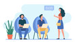 Men working at laptop. Woman showing thumb up to them flat vector illustration. Communication, team, coworking concept for banner, website design or landing web page