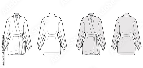 Kimono robe technical fashion illustration with long wide sleeves, belt to cinch the waist, above-the-knee length Wallpaper Mural