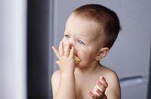 Little Boy Toddler Eating An O...