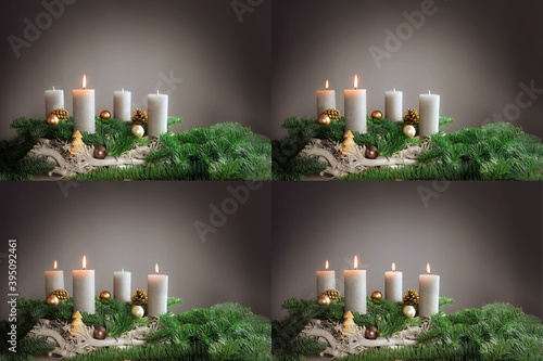 Four images 1st to 4th advent with festive arrangements of burning candles, fir tree branches and Christmas decoration, copy space