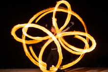 Make Your Event Extraordinary. Sensual Girl Perform Infinite Spirals In Darkness. Burning Poi Spinning. Fire Performance. Holiday Celebration. Night Party. Blaze Of Lights. Adding Spark To Any Event