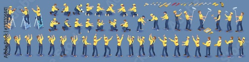 Obraz Set of isometric Workers. Repairers in overall, various poses. Vector. - fototapety do salonu