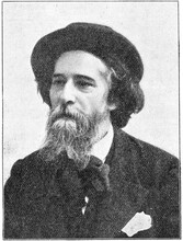 Portrait Of Alphonse Daudet - A French Novelist. Illustration Of The 19th Century. White Background.