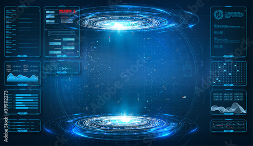 Obraz Futuristic circle vector HUD, GUI, UI interface screen design. Abstract style on blue background. Abstract futuristic technology interface design innovation concept background. Vector illustration - fototapety do salonu