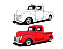 Old Red Pickup Truck Vector Illustration.
