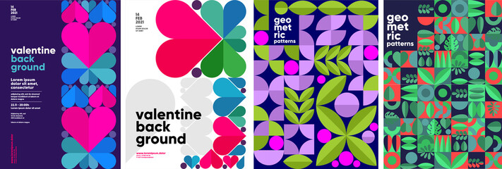 Set of vector posters or event banner. Valentine's day posters, valentines with abstract, geometric background. Geometric prints, geometric patterns.