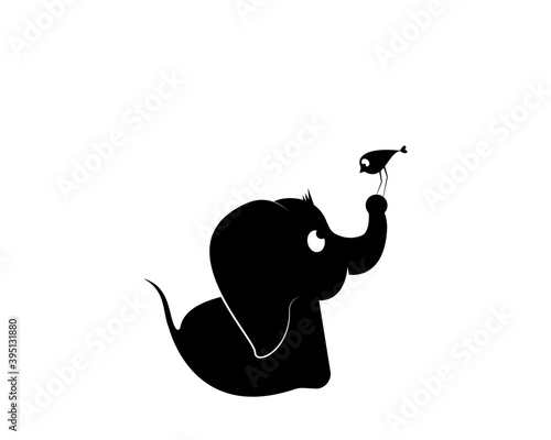 Cute baby elephant silhouette with a bird on his trunk illustration, vector. Cartoon character. Childish wall art, wall decals, artwork, poster design. Elephant silhouette isolated on white background