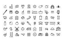Collection De Symboles Produits Biologiques, Producteur Local, Commerce De Proximité, Marché Produits Locaux, Agriculture