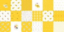 Cute Baby Elephant. Vector Set Seamless Of Patterns And Prints With Little Elephants, Hearts, Polka Dots And Check Pattern. Yellow Backgrounds For Kids. Perfect For Birthday Or Baby Shower Decor