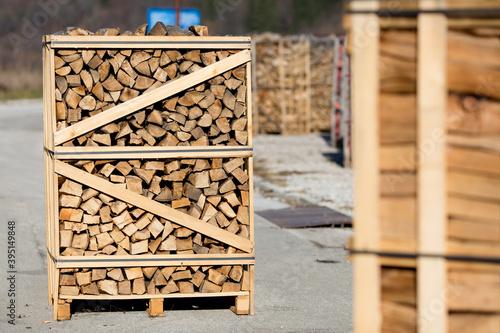 Valokuvatapetti Wood pallet filled with firewood