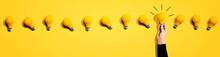 Many Yellow Light Bulbs - Idea And Creativity Theme