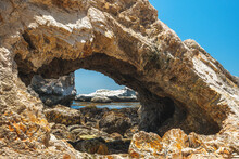 Rocky Cliffs And Arches At Low Tide. Pismo Beach, Beautiful Central California Coast
