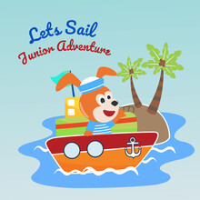 Funny Dog Sailor Cartoon Vector On Little Boat With Cartoon Style. Creative Vector Childish Background For Fabric, Textile, Nursery Wallpaper, Poster, Card, Brochure. And Other Decoration.
