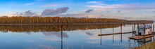 Panoramic Reflections On A River Portland Oregon.