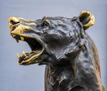 """Head Of The Sculpture """"Bear"""" On Nikolskaya Street In Moscow, Russia"""