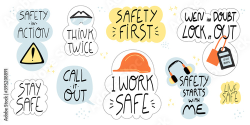 Fotomural Collection of hand drawn lettering about health and safety on production and construction industries