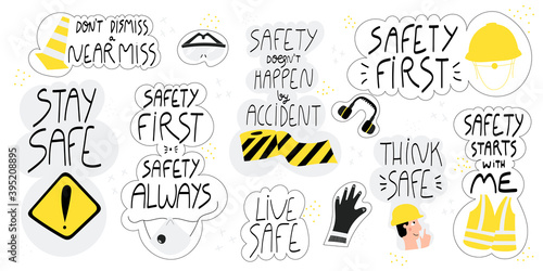 Cuadros en Lienzo Collection of hand drawn lettering about health and safety at work in production and construction industries