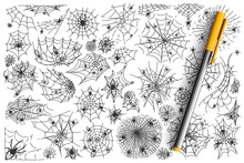 Spider Web Doodle Set. Collection Of Arachnid Net Trap For Insects Halloween Symbol Isolated On White Background. Internet Metaphor And Tattoo Template Illustration.