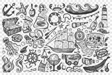 Pirates Doodle Set. Collection Of Sea Ocean Symbols Treasure Map Gold Chest Ship Mermaid Whale Rum Sailor Isolated On Transparent Background. Corsairs Free Marine Life Illustration.