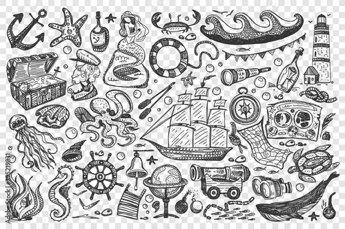 Fotografie, Obraz Pirates doodle set