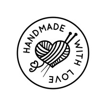 Handmade With Love Round Beautiful Sign Vector