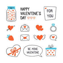 Valentines Day Design Set With Hand Drawn Elements. Vector Illustration On White Background