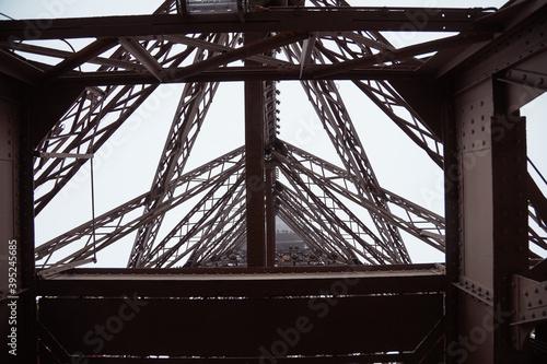 Cuadros en Lienzo Eiffel tower detail of iron construction, Paris France.