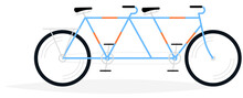 Tandem Bicycle For Two Persons Drawing. Vector Illustration