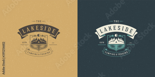 Fényképezés Forest camping logo emblem summer hike vector illustration with tent and lake si