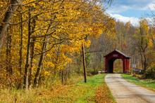 Covered Bridge During Fall In ...