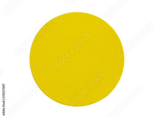 Fototapeta Yellow round paper sticker label isolated on white background obraz na płótnie