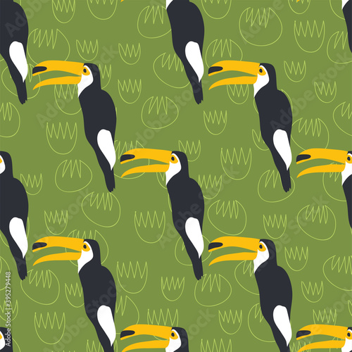 Fototapeta premium Cartoon toucan bird seamless pattern exotic animals wildlife