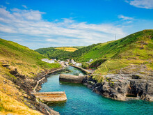 The Harbour Of The Fishing Village Of Boscastle, Cornwall, On A Summer Evening.