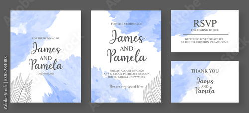 Obraz Invitation card template. Watercolor weeding card with floral background. - fototapety do salonu
