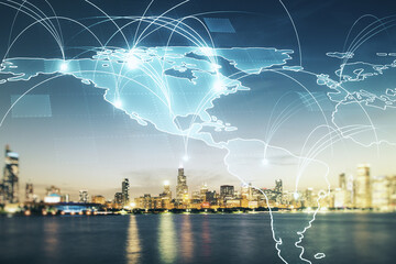 Double exposure of abstract digital world map hologram with connections on Chicago office buildings background, big data and blockchain concept