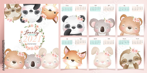 Fototapeta premium Cute doodle animals calendar for year 2021 collection