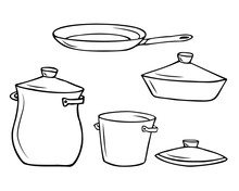 Cooking Utensils, Pots And Pan, Baking Dish With Lid And Separate Lid. Hand Drawn Outline Sketch.