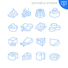 Cheese Related Icons. Editable Stroke. Thin Vector Icon Set