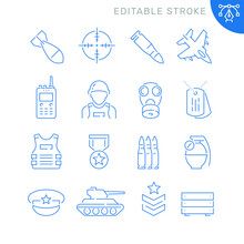 Army Related Icons. Editable Stroke. Thin Vector Icon Set