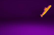 Orange Submarine Icon Isolated On Purple Background. Military Ship. Minimalism Concept. 3d Illustration 3D Render.