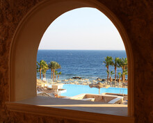 View From The Window To The Sea And The Pool