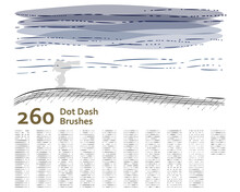 Set Of 260 Unique Dot-dash Sketch Art Brushes For Illustrator, Technical Drawing, Retro, Vintage Design, Shading, Engraved, Hatching, Water Effect, Lino Cut, Outline. Created Using AI CS6.