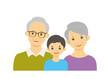 老夫婦と孫のイラスト