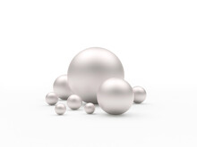 A Group Of White Nacreous Pearls Or Spheres Of Various Sizes Isolated On White. 3d Illustration