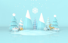 Christmas Podium Backdrop For Product Display. 3d Render.
