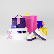 Shopping And Retail. Clothes And Accessories. 3d Render