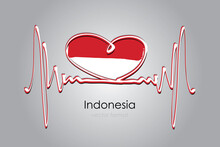 Hand Painted Heart And Indonesia Flag In Vector Format