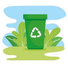 Waste Bin With Recycle Arrows In The Field Vector Illustration Design